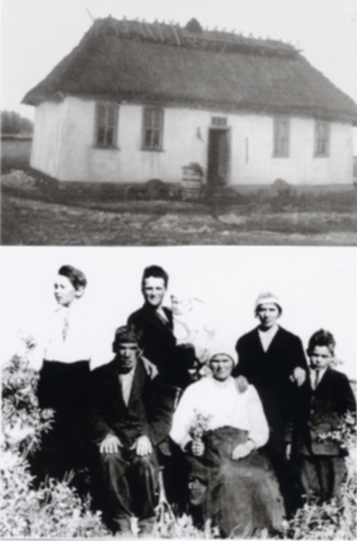 Andrusko Homestead House(top) Andrusko Family Photo (bottom) Year: 1920 Place Name: Borden Top Photo: This house was built in 1905 and was home to Fred & Mary Andrusko Family. Place Jack and Bill were born on NE Quarter of Section 26 Township 41 Range 9 West. Bottom Photo: Fred & Marry sitting, Jack standing on left, Roman holding baby some, Mike, Annie Shipowick (nee Andrusko) standing with her hands on her mother and brother, Bill.
