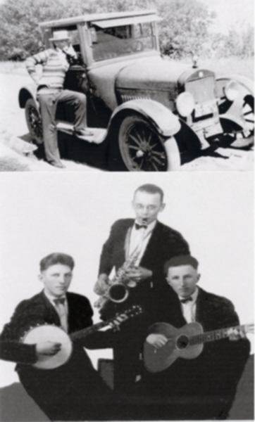 Jack Andrusko (top) Jack & his band (bottom) Year: 1927 (top) 1928 (bottom) Place Name: Radisson (top) Saskatoon (bottom) Image Source: Chambury Studio Saskatoon (bottom photo only) Top Photo: Jack with car bought my mom and dad. He used the car to go teaching and play in a dance band. He also used it bring in the cows on the farm and pick up girls. Bottom Photo: Jack Andrusko on Saxophone, Walter Pedrobetsky on Banjo and Jack Pedrobetsky on Guitar.