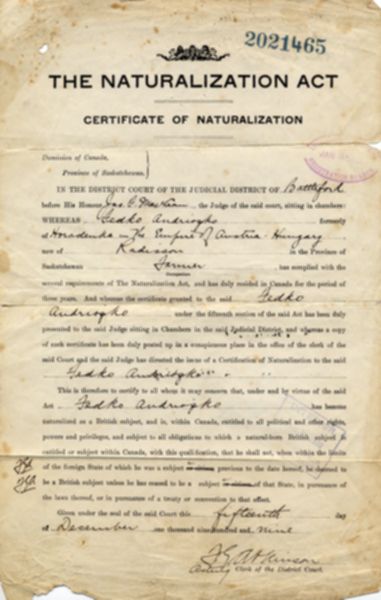 Certificate of Naturalization Year: 1909 Place Name: Battleford Cerificate of Naturalization for Fedko Andriozko.