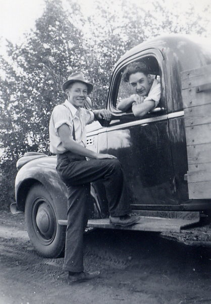 Mel at 17 Year: 1942 Place Name: Kelliher Mel Bolton and Tom Smith with Smith's truck
