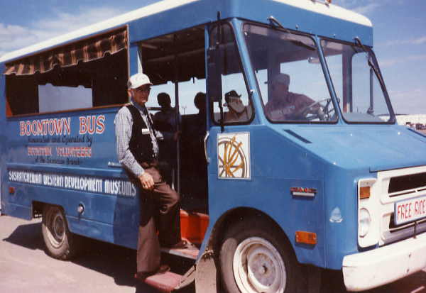 Boomtown bus giving free rides at the annual summer show in 1989 Grade Four Threshing Year: 1995 Place Name: Saskatoon Threshing demonstration set up for grade four students in fall of 1995