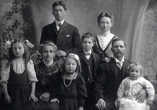 Year: C. 1906 Place Name: Lumsden, SK Back L-R: Charles, Jenny Front L-R: Mabel, Grandma (Josephina), Elsie, Fred, Grandpa (Alfred), Elmer (Pat)