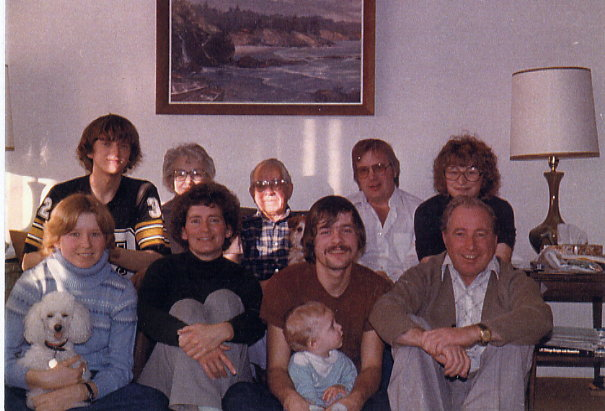 Christmas 1979 Year: c. 1979 Back L-R: Donald, Clara (Nana), Pat (Grandpa), Terry, Lynne Front L-R: Lori, Muriel, Rick (Rick Walker is Lynne's husband), Johnathon, Gary *Ralph the dog with Lori