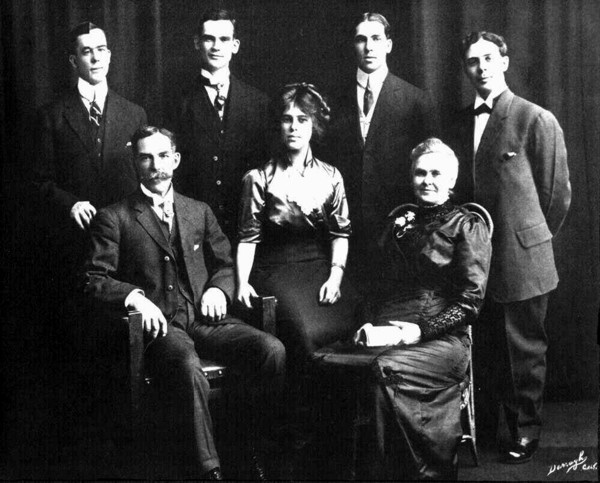 The George Champ Family Year: c. 1905 Place Name: Galt, ON L to R: Stewart, Henry, David, Wesley Sitting: George, Severa and Christina