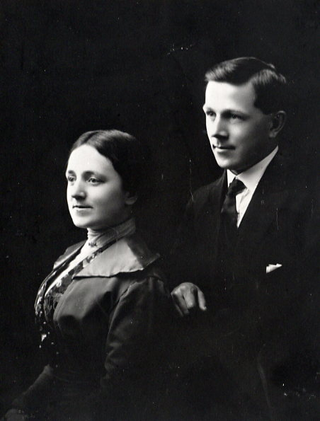 William and Gertrude Chapman Year: 1914 Wedding picture - Jan. 1914. They were married at Kisbey and made their home at Lashburn. The photo may have been taken during their honeymoon in Winnipeg.