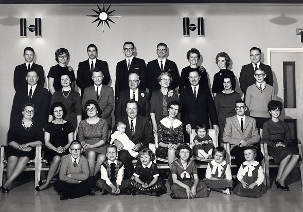 The family at Will & Gertrude's 50th Wedding Anniversary Year: 1964 Place Name: Saskatoon Image Source: Louis Tubb Will and Gertrude and their seven children and spouses and all their grandchildren at that time - one granddaughter was born later