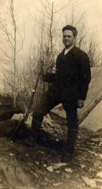 Francis (Frank) Clarke Year: circa 1910 Place Name: Rosyth, AB At his homestead. The tent was his first home