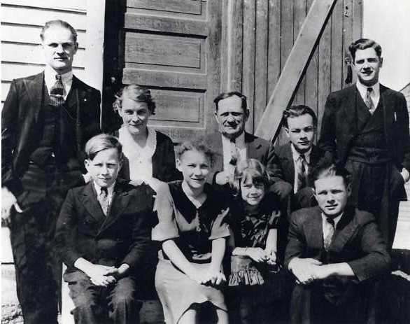 The Clarke Family Year: 1937 Place Name: Trossachs, SK From left back: Jim, Susan, Frank, Don, Bill. From left front: Harvey, Dorothy, Betty, Jack.