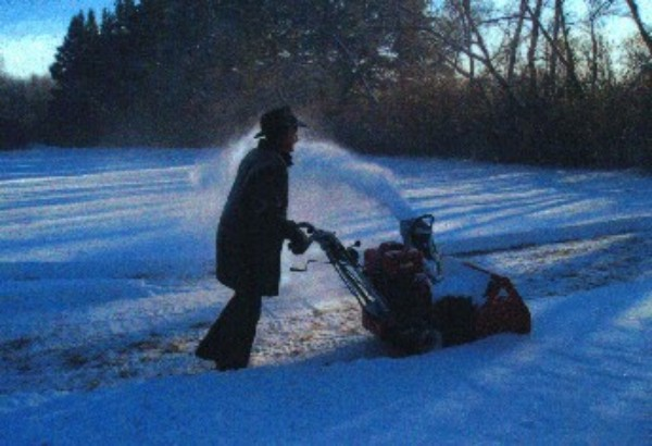 Brother Tim Coates Blowing Snow Dec/2004