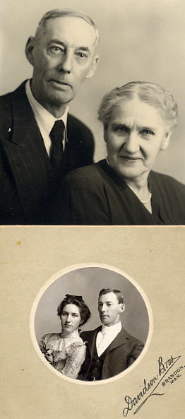Mrs. & Mrs. D. W. Croll 50th Wedding Anniversary Year: 1952 Place Name: Saskatoon Bottom photo: 1902 Wedding Picture Year: 1902 Photographer: Davidson Bros. Place: Brandon, MB Description: Ward and Edith Croll were married in Nesbitt, Manitoba on November 12, 1902. The ceremony was performed by Ward's father, Rev. Robert M. Croll. They homesteaded in the Penkill district of Saskatchewan, farmed in the Richlea area until the early 1940's, and spent the last years of their lives in Saskatoon.