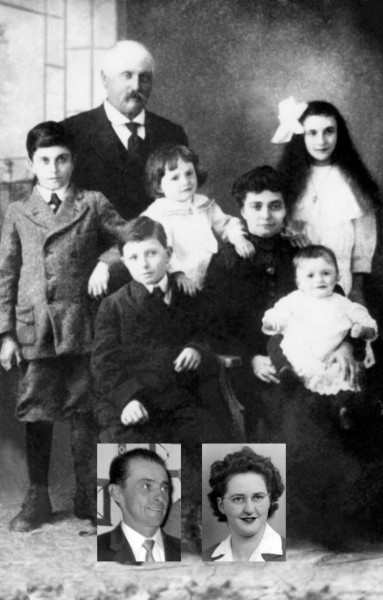 Léon Denis and Fernande Lafarchoux family. Back row, left to right: Louis, Léon, Robert, Fernande, Hélène. 2nd row: Roger and Léon Jr. Insets: Fernand and Reine.