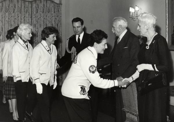 Meeting Governor-General and Mrs. Vanier Year: 1961 Sylvia being received at Rideau Hall by Governor-General and Mrs Vanier (during the 1961 Canadian Curling Championship). Directly behind Sylvia are Barbara MacNevin and Rose McFee- team mates.
