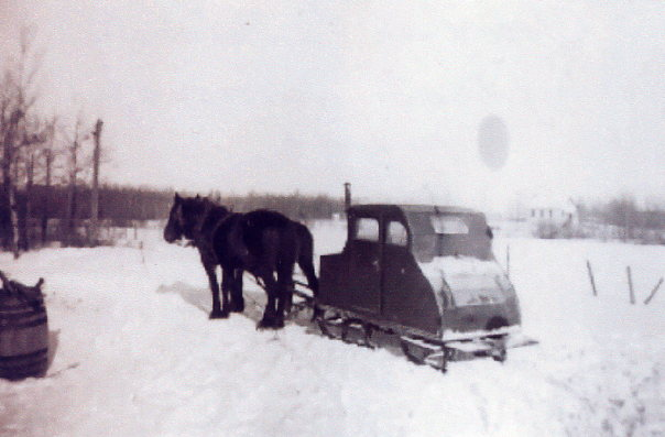 Van drawn by team of horses Year: 1937 Place Name: Nipawin Image Source: unknown