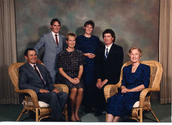 Ron Gallaway Family Year: 1986 Place Name: Estevan Ron and Marguerite with (L to R) David Joan, Beth and Donald