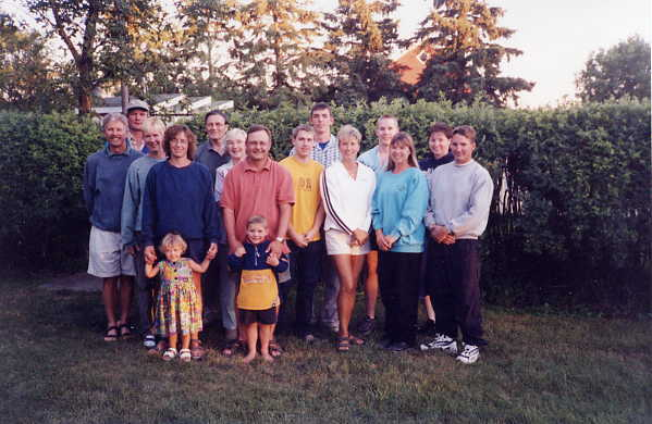 Family at 50th Anniversary Year: 2001 Place Name: Estevan Ron and Marguerite with their children and spouses and five grandchildren