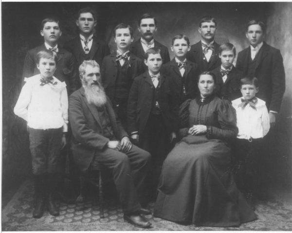 Heinrich & Anna Gerwing & Family Standing in Dark Jackets (l to r) John Gerwing (1883), Anthony Gerwing (1878), Joseph Gerwing (1884), Bernard Gerwing (1874), William Gerwing (1887), Christ Gerwing (1886), Henry Gerwing (1875), Herman Wesling (1886), George Gerwing (1881). Standing in White Jackets (l to r) Albert Gerwing (1889), Gerhard Gerwing (1891) Seated (l to r) Heinrich Gerwing (1847) and his second wife Anna Wesling (1850)