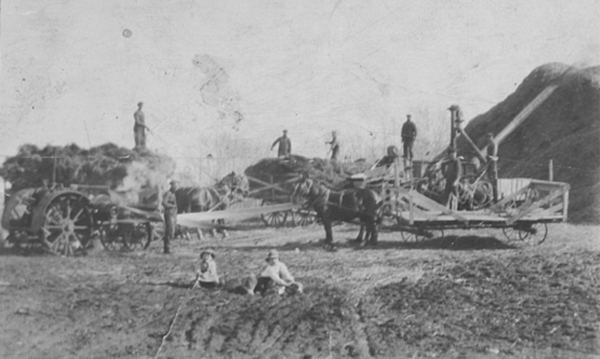 An early Gerwing threshing crew Place Name: Lake Lenore, SK