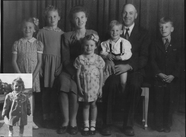Family Photo Year: 1945 From left to right Karen (inset; born 1955), Betty, Sylvia, Germaine, Denise (in front), Leo (on lap), Cornelius and Maurice Nachtegaele.