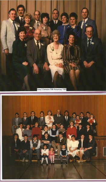Top: 50th Anniversary, 1985; Bottom: 30 Grandchildren Top: Germaine and Cornelius' 50th anniversary in 1985. Top row: BillCockburn, WillfredHinz, SylviaHinz, GarrySabraw, KarenSabraw, JoeZnack, BettyZnack, BernadetteNachtegaele, LeoNachtegaele Front row: DeniseCockburn, CorneliusNachtegaele, GermaineNachtegaele, ArleneNachtegaele, MauriceNachtegaele. Bottom: Cornelius and Germaine's 30 grandchildren: Top row: BrianZnack, BradleyHinz, JimNachtegaele, DarrellHinz, GermaineNachtegaele (ShaunSabraw on lap), CorneliusNachtegaele, RyanHinz, DeanCockburn, JasonZnack, RobCockburn, TimZnack, DavidZnack. Middle Row: Elaine Nachtegaele, Maureen Nachtegaele, Diane Hinz, Chris Nachtegaele, Peter Nachtegaele, Terry Sabraw, Marina Hinz, Sandra Cockburn, Wanda Nachtegaele. Front Row: Michele Nachtegaele, Glenn Nachtegaele, Gordon Znack, Jeffrey Nachtegaele, Kevin Znack, Laurie Nachtegaele, Barb Znack, Brenda Znack. Front step: Joanne Nachtegaele, Amanda Sabraw, Adam Nachtegaele.