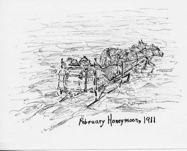 February Honeymoon, 1911 After a long, cold drive with horses and sleigh through a blizzard over an uncharted route, they reached the homestead. Drawing by Mary A. (Harrington) Bryant.