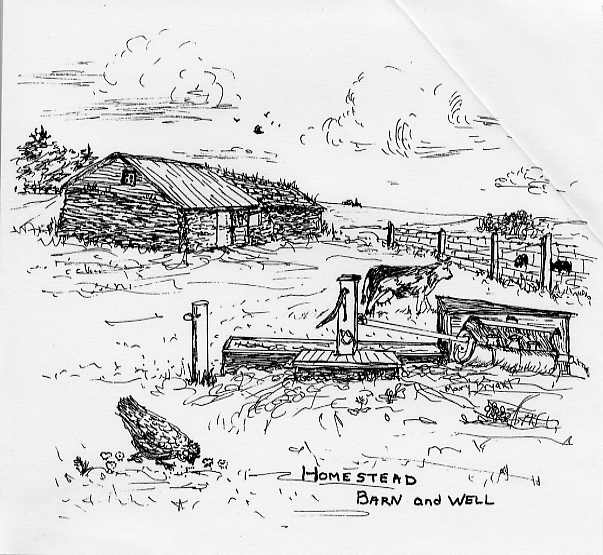 Homestead Barn and Well Drawing by Mary A. (Harrington) Bryant.