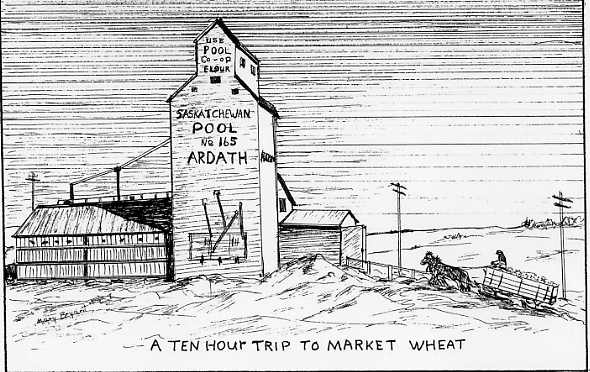 A ten hour trip to market wheat Drawing by Mary A. (Harrington) Bryant.