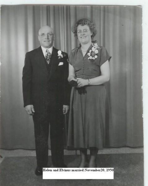 Helen and Elvinus, married Nov. 20, 1950