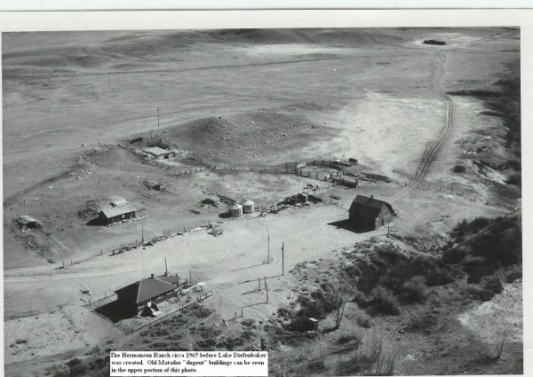 "The Hermanson Ranch Year: circa 1965 The Hermanson Ranch before Lake Diefenbaker was created. Old Matador ""dugout"" buildings can be seen in the upper portion of this photo."