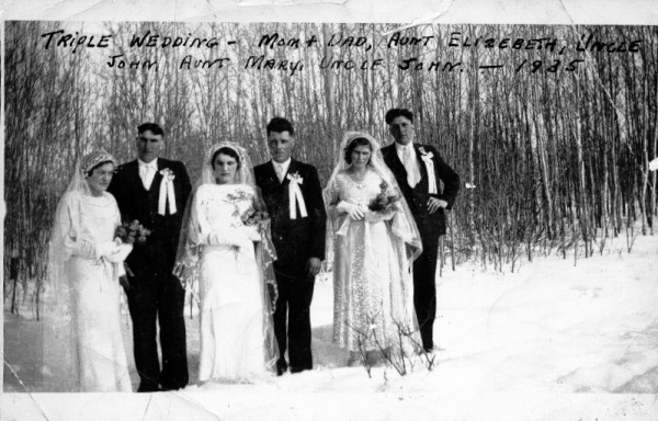 Triple Wedding 1935 Place Name: near St. Benedict, SK On the family farm near St. Benedict, SK. Wedding of George and Verna (Miskolczi) Galambos, John and Elizabeth (Galambos) Miskolczi and John and Mary (Kurja) Galabbos