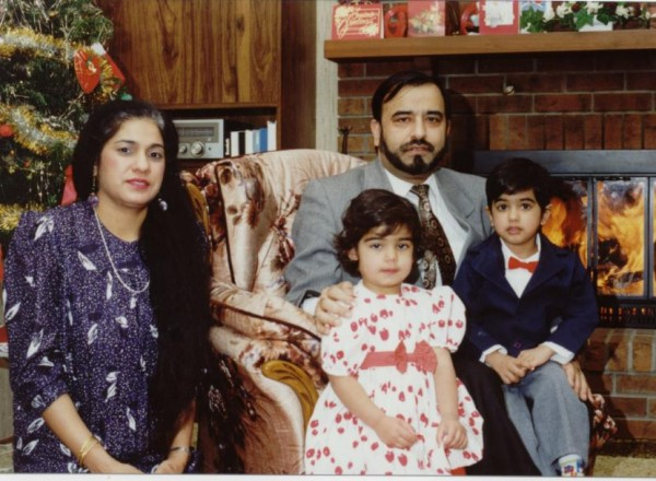Dr. Kalra and family, Christmas Spirits Jay, Kamla, Neil and Natasha celebrating Christmas, 1994