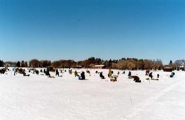 Ice Fishing Derby Year: 2002 Place Name: Katepwa Village Image Source: Larry Myers This photo depicts our annual Ice Fishing Derby.