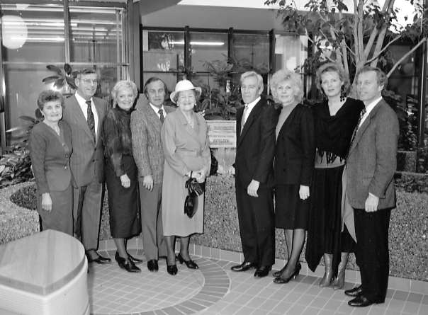 Dedication ceremony at Royal University Hospital Year: 1989 Place Name: Saskatoon, SK (l/r) Mary Leier, James Leier, Dolores Leier, Joseph Leier, Adelle Leier, Joseph Sikler, Patricia Sikler, Linda Leier & Don Leier