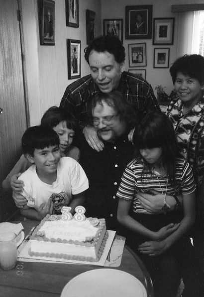 38th Birthday Year: 2000 Left to right:John, Michael (grandson), Tim, James (celebrant), Sarah (grandaughter), Fay Lozinsky. Joseph is taking the picture