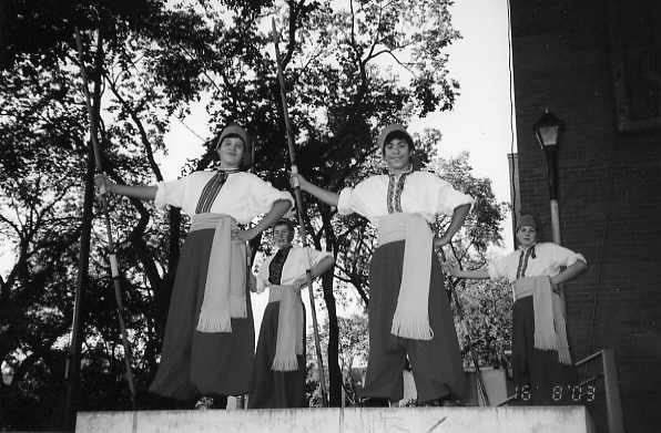 Young Cossacks Year: 2000 John Lozinsky (second from the right) standing guard at the Kyiv Ukranian Folkfest pavilion in Saskatoon.