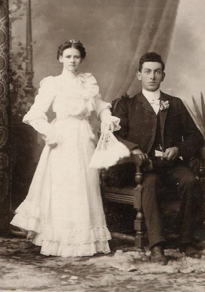 Wedding of VIOLET THIBIDEAU and WILLIAM MASON Year: 1901 Place Name: Harriston, ON Image Source: C.A. Lee Grandma, when standing, measured the same as Grandpa, when sitting. A milestone for the grandchildren was when they became as tall as Grandma.
