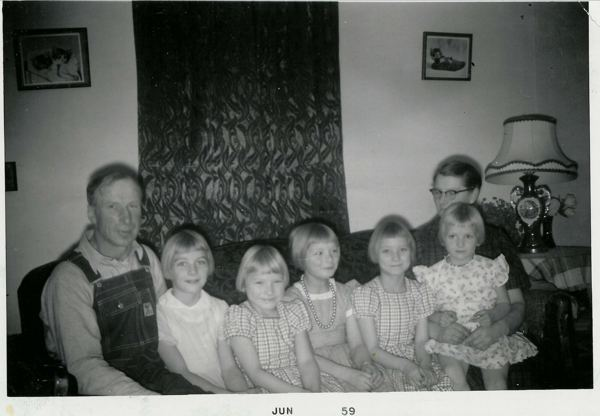 John & Mary with their girls Year: 1959 Place Name: Preeceville, SK John, Muriel, Connie, Margaret, Cathy, Mary holding Ruth