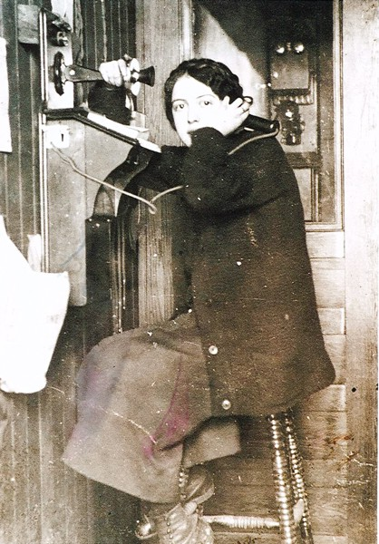Marjorie Murdoch Year: c 1913 Place Name: Girvin, SK Marjorie Murdoch at the Girvin Post Office and Telephone Office