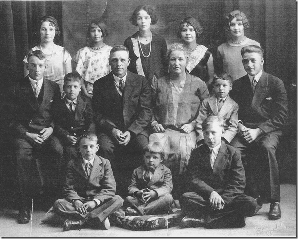 Family Photo Year: 1928 Place Name: Yorkton SK Image Source: Commercial Photographer Left: Aagot,Clara, Borghild,Olga, Jean, Art,Harold, Olaf,Berntine, Allan,Emil, Eddie, Kenneth,Henry