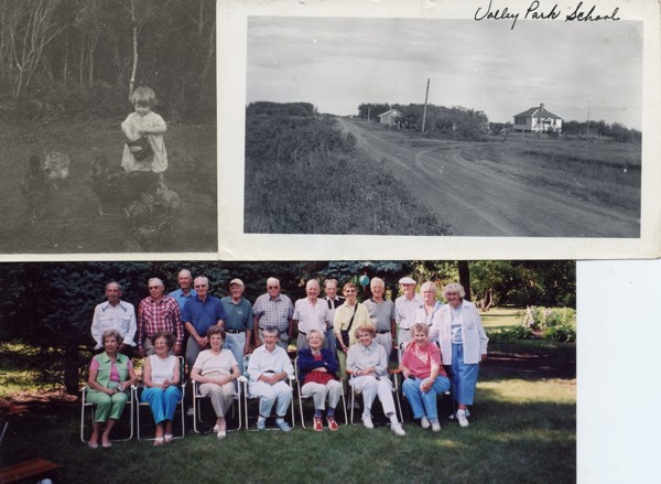 Judy feeding the chickens / school house / photo of reunion Top left - A young Judy helps to feed the chickens in 1927. Top right - Valley Park School in the 1920s. Botton - Valley Park School Reunion held in Saskatoon on 23 July 2005. Back row, standing: Derry Kinzie, Maynard Erickson, Don Kinzie, Doug Olver, Jack Newman, Emil Erickson, Mel Dahlen, Harvey Dahlen, Joyce Olver, Keith Dahlen, Rey Dahlen, Margaret Dahlen, Judith Newman. Front row, seated: Iris Dahlen, Shrley Dahlen, Cora Dahlen, Joan Newman, Florence Benolkin, Shirley Newman, Daphne Newman.