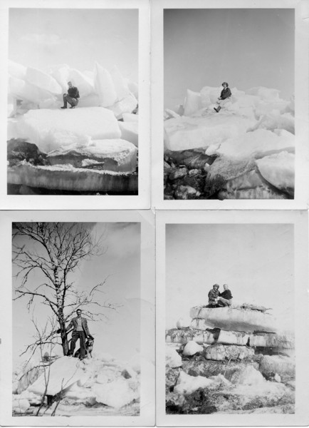 Collage of four ice jam photos. Year: 1947 After the valley flooded on March 27,1947, the Newman family investigated the remaining ice about half a mile inland from the river on April 6, 1947. Top left is Doris, top right is Daphne, bottom left is Percy, bottom right shows Doris and Daphne.