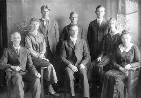 Carl Norum Family Year: 1917 (L to R) Carl, Jesse, Arnold, Casper (back) Oscar, Kalmer, Mabel, Marie