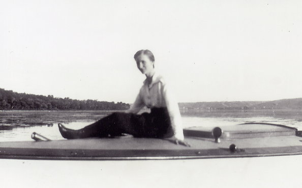 Freda (Sueinsson) Olson at Echo Lake, Qu'Appelle Valley Year: 1921 Place Name: Fort San Freda relaxing in latter stage of stay at sanatorium