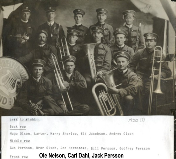 Stockholm Community Band Year: 1920? Place Name: Stockholm Names on front of picture