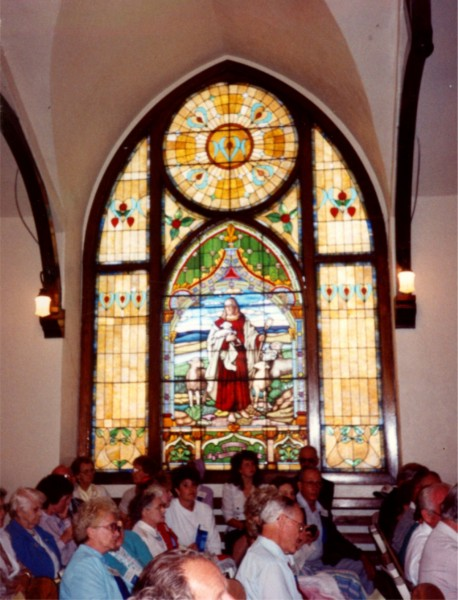 New Stockholm Lutheran Church - interior Year: 1989 Place Name: Stockholm Side window (12'x18') and congregation during 100 year anniversary celebration of the church.