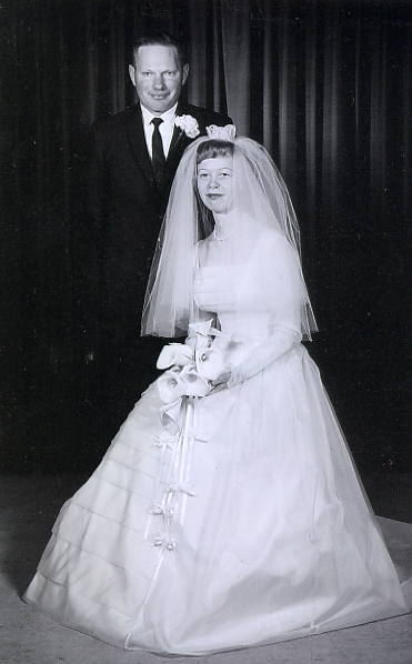 Clinton Pedersen & Muriel Moen's Wedding Day Year: 1965 Place Name: Torquay, SK