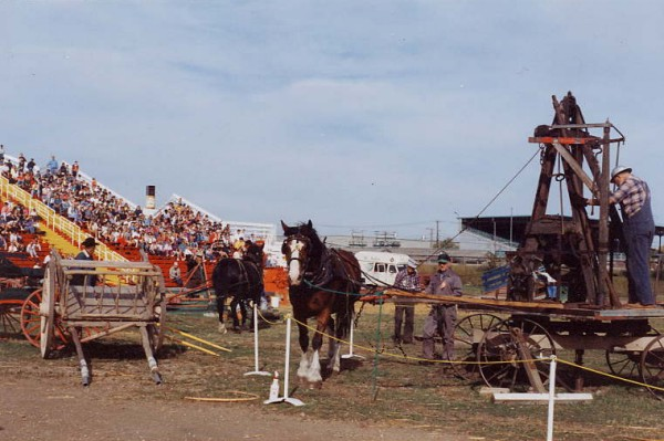 Horse-powered well boring machine Year: 1990's Pioneer Days demonstration