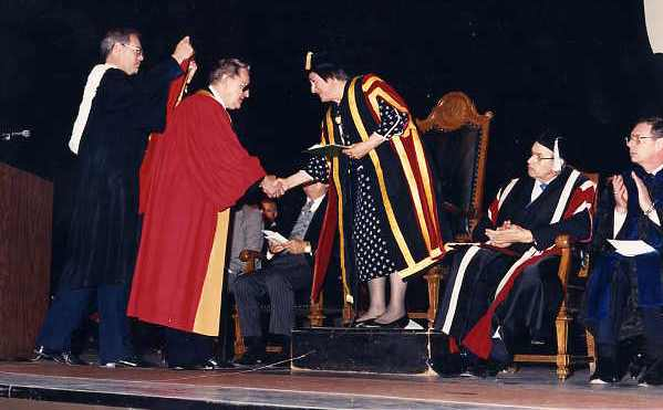 Walter Podiluk receiving Honorary Doctor of Law Degree Year: 1987 Place Name: Saskatoon