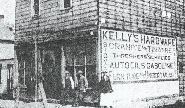 Kelly's Hardware. Col. Kelly, Leo & Hulda Christopherson Year: Built in 1911