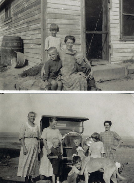 S.W.C. Quinney Family Year: 1925 Top - (standing) Mary Quinney - 9 yrs (L to R) Lloyd Chater Quinney - 8 yrs, Agnes Quinney, Arthur Ross Quinney - 6 yrs. Taken in fron of the farmhouse built by Sid. Bottom - (L to R) Agnes Purves Ruthven, Mrs. Leach (neighbour), Arthur Ross Quinney, Glover Leach with Sid's wolfhound, Lloyd Chater Quinney, Mary Quinney, Agnes Quinney