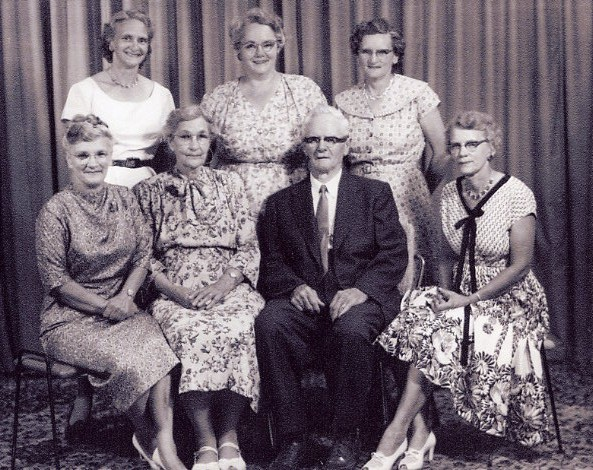 60th Wedding Anniversary Year: 1959 Robert Owen Ross family in 1959 (60th wedding anniversary). Five girls - no boys. back row: Helen, Ruth, Violet. Seated: Gladys, Bertha, Robert and Ethel.